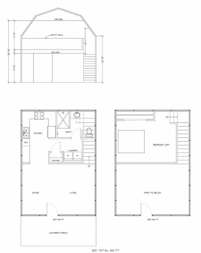 Lofted barn cabin floor plans dan pi for Gambrel barn house plans