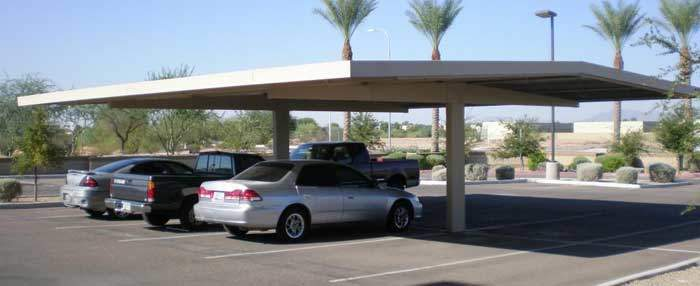 Office space covered parking T frame system