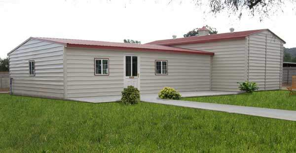Kit home with metal panels