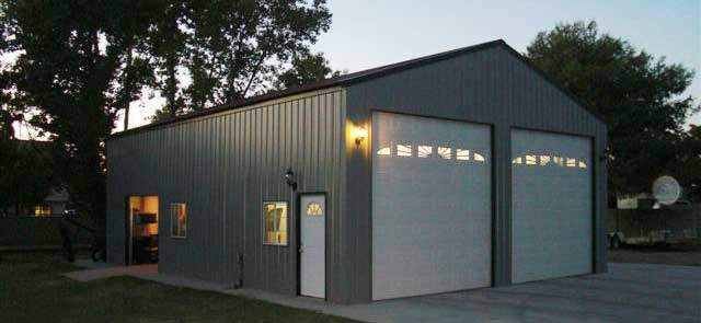 Perfectly lit metal garage kit