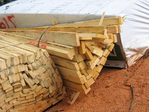 Pile of raw lumber