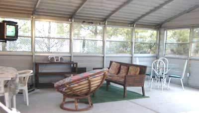 Steel patio room interior