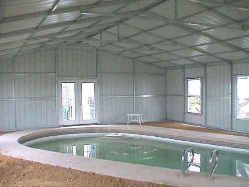 Steel building swimming pool enclosure for Inside metal building homes