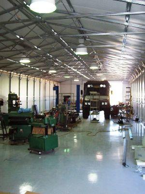 Metal shop building interior