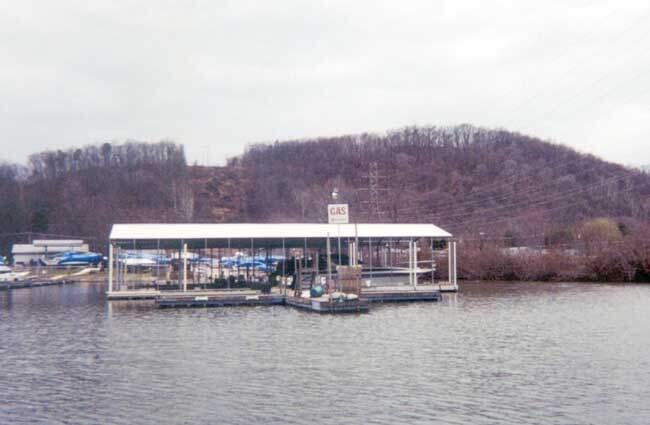 Covered boat storage marina.