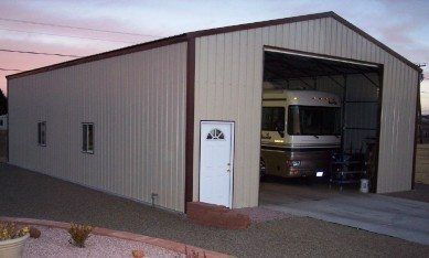 Metal rv garage lots of extra space for Motorhome garage kits