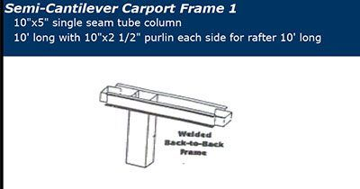 Semi Cantilever Covered Parking Frame