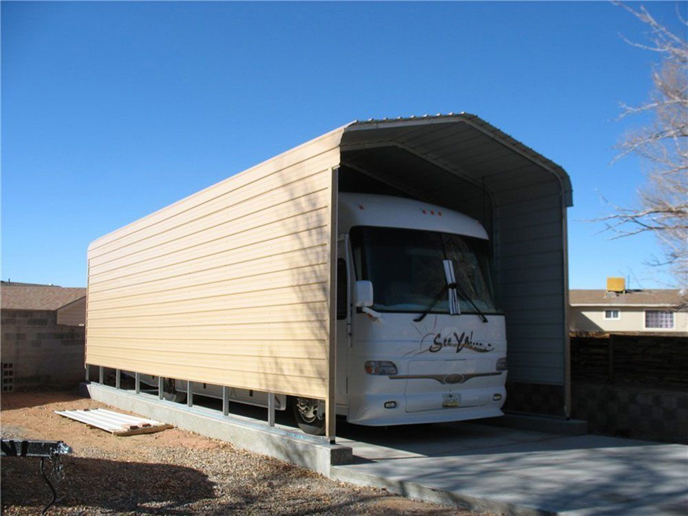 Rv carports metal rv covers for How tall is an rv garage door