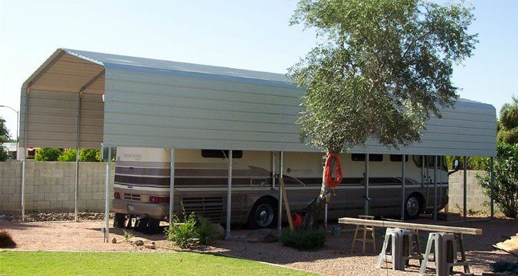 Rv carports metal rv covers for Garage pole cover