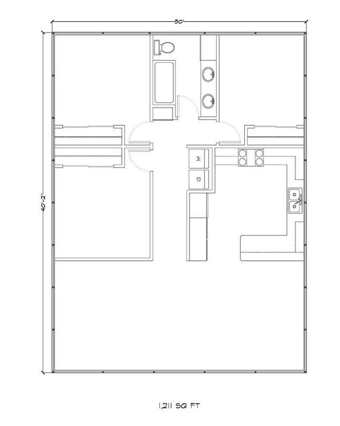 1200 Square Feet Gambrel Floor Plan