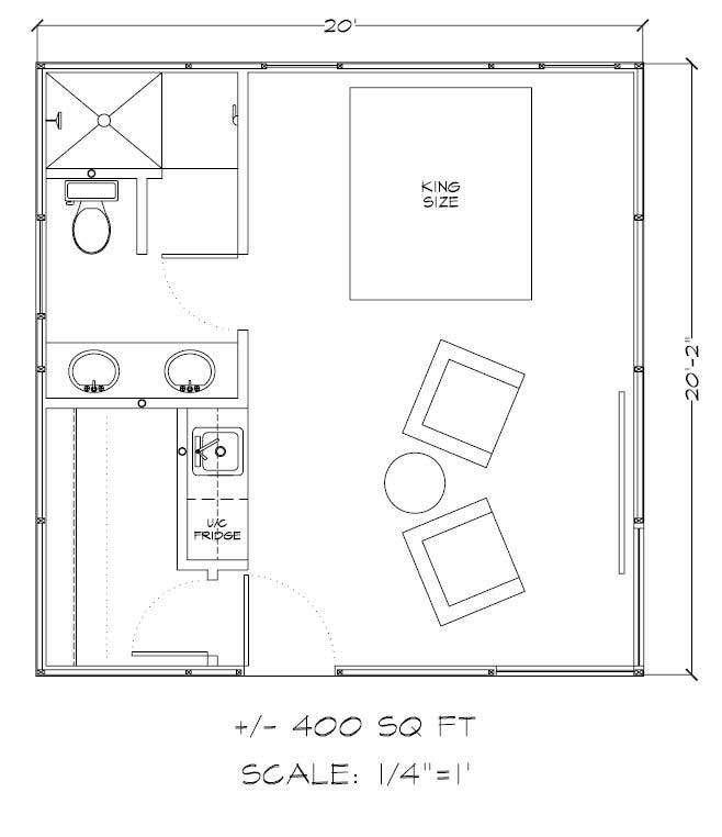 400 Square Feet Gambrel Floor Plan