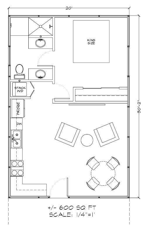 600 Square Feet Gambrel Floor Plan