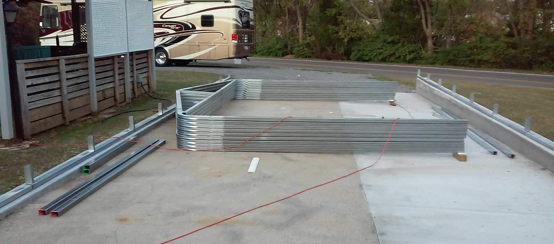 Install the base rails and assemble the wall / truss system