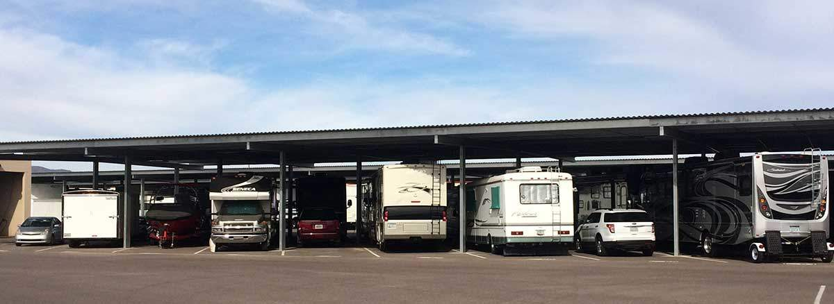 Covered parking systems for boat and rv storage facilities for Rv covered parking structures